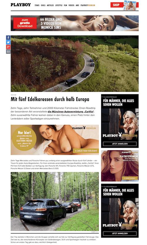 Playboy Presseartikel CarVia