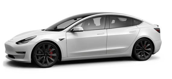 Tesla Model 3 in weiß mit großen Felgen